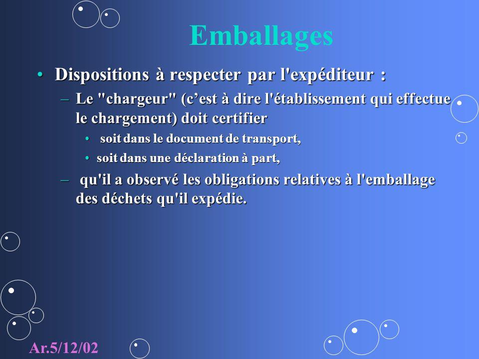 Emballages Dispositions à respecter par l'expéditeur :Dispositions à respecter par l'expéditeur : –Le