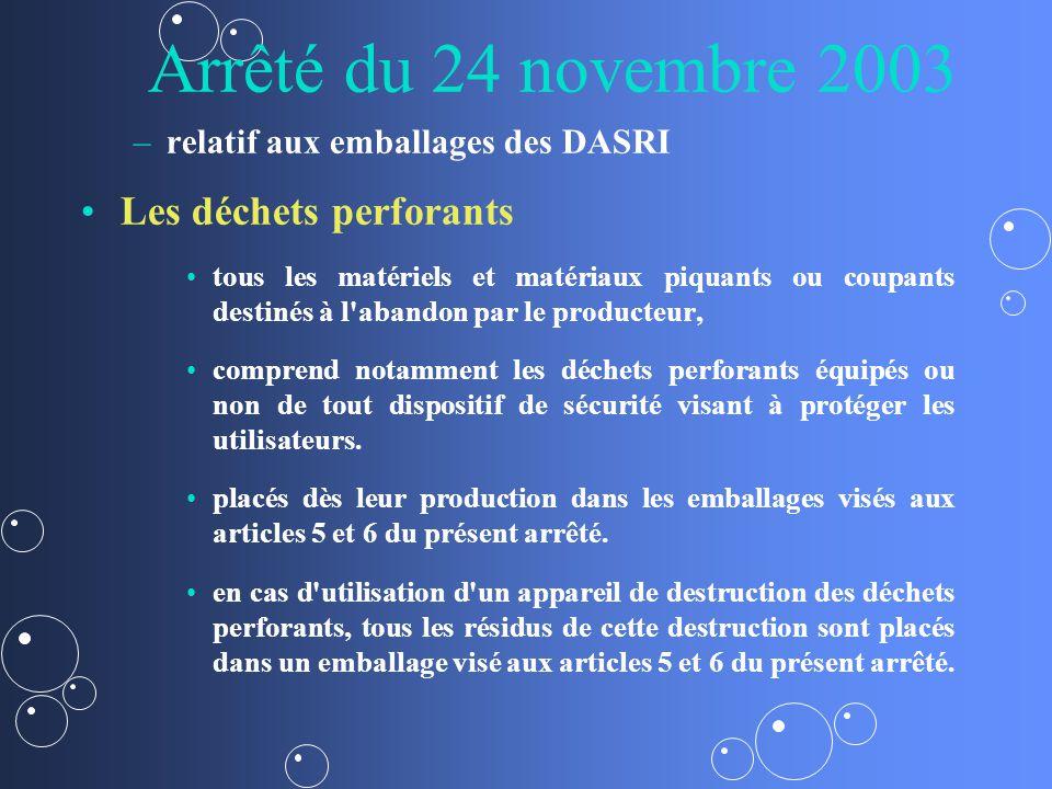 Arrêté du 24 novembre 2003 – –relatif aux emballages des DASRI Les déchets perforants tous les matériels et matériaux piquants ou coupants destinés à l abandon par le producteur, comprend notamment les déchets perforants équipés ou non de tout dispositif de sécurité visant à protéger les utilisateurs.