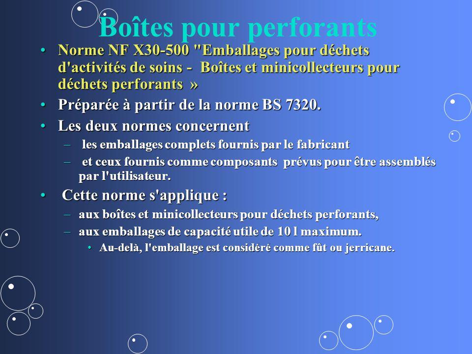 Boîtes pour perforants Norme NF X30-500 Emballages pour déchets d activités de soins - Boîtes et minicollecteurs pour déchets perforants »Norme NF X30-500 Emballages pour déchets d activités de soins - Boîtes et minicollecteurs pour déchets perforants » Préparée à partir de la norme BS 7320.Préparée à partir de la norme BS 7320.