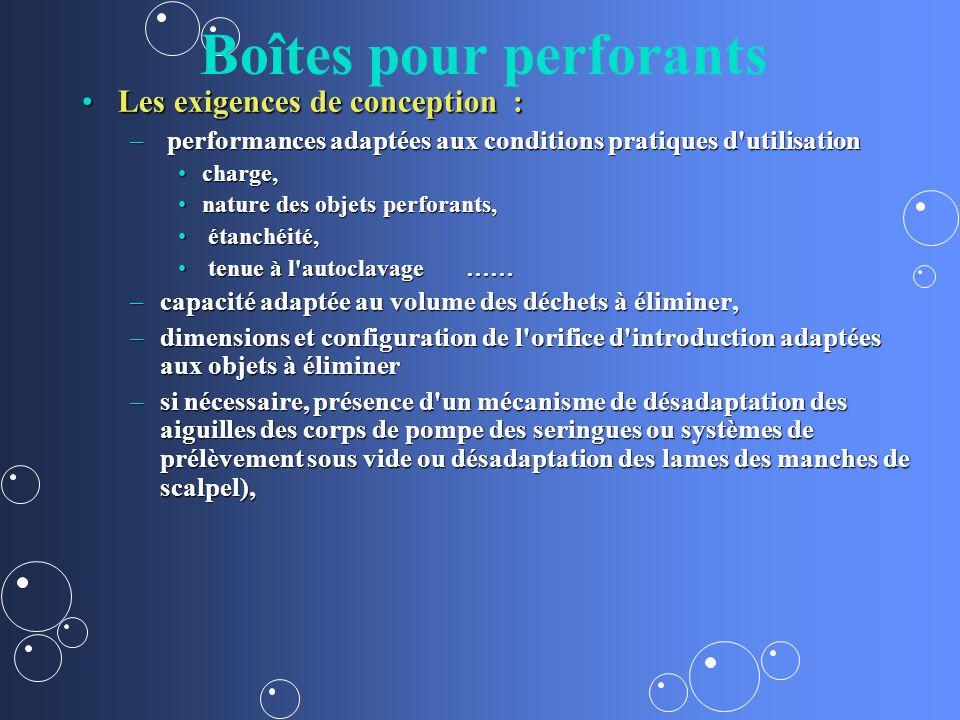 Boîtes pour perforants Les exigences de conception :Les exigences de conception : – performances adaptées aux conditions pratiques d'utilisation charg