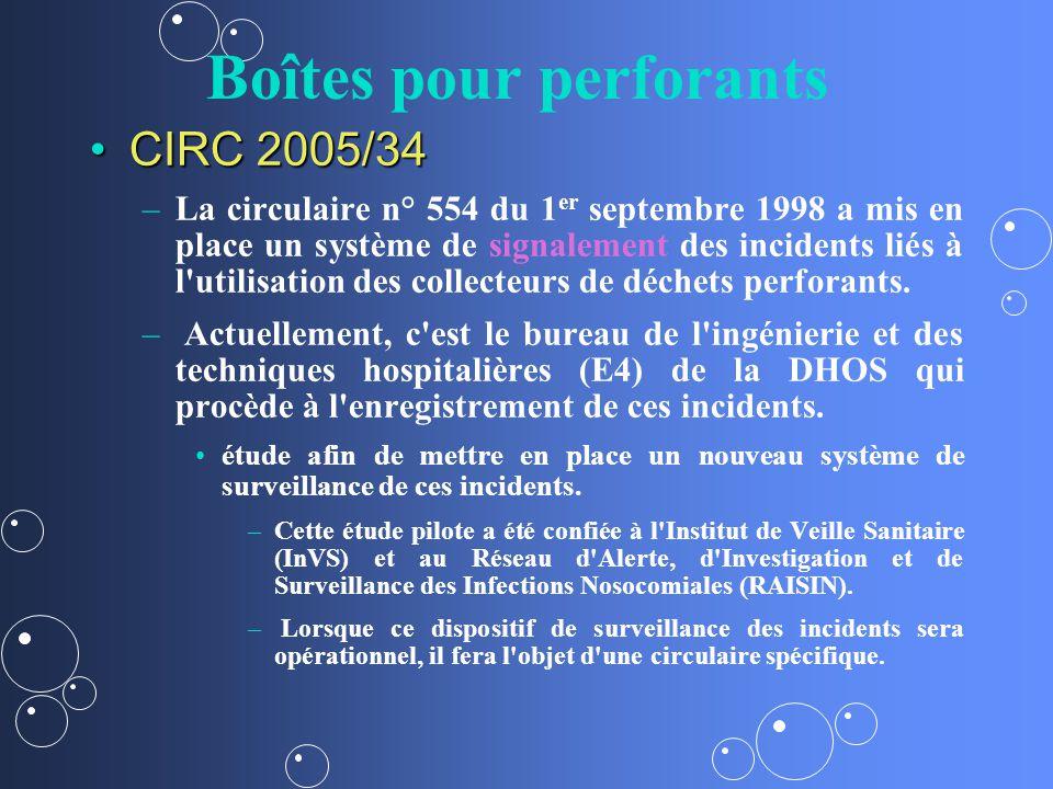 Boîtes pour perforants CIRC 2005/34CIRC 2005/34 – –La circulaire n° 554 du 1 er septembre 1998 a mis en place un système de signalement des incidents liés à l utilisation des collecteurs de déchets perforants.