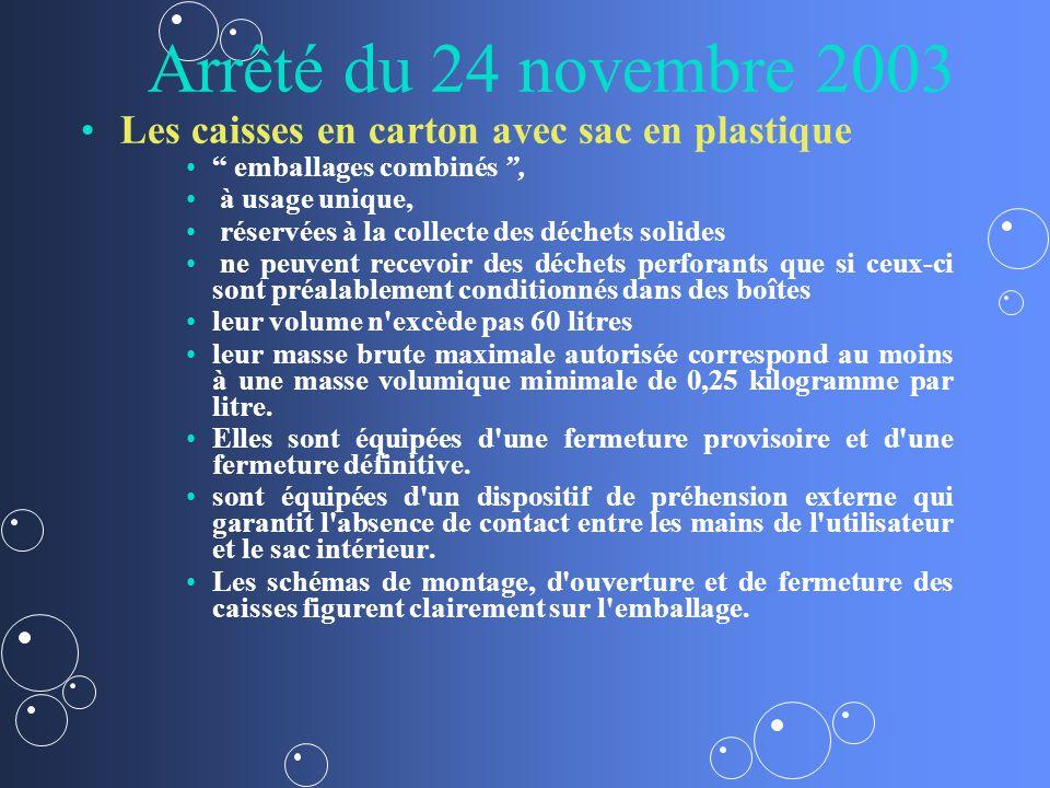 Arrêté du 24 novembre 2003 Les caisses en carton avec sac en plastique emballages combinés, à usage unique, réservées à la collecte des déchets solide