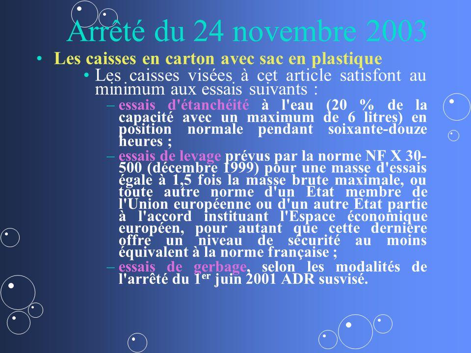 Arrêté du 24 novembre 2003 Les caisses en carton avec sac en plastique Les caisses visées à cet article satisfont au minimum aux essais suivants : – –