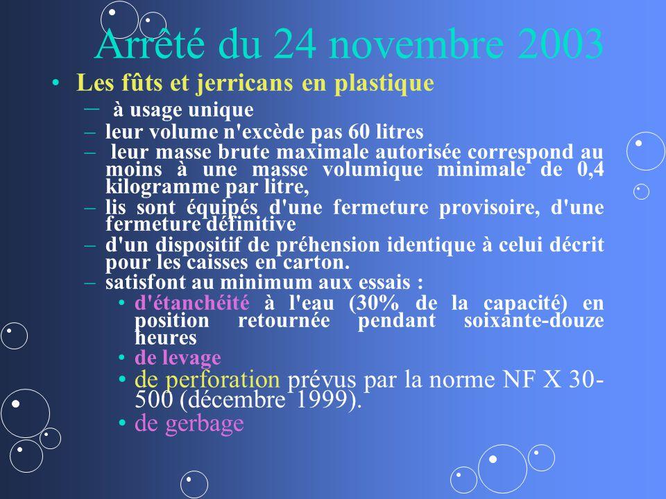 Arrêté du 24 novembre 2003 Les fûts et jerricans en plastique – – à usage unique – –leur volume n'excède pas 60 litres – – leur masse brute maximale a