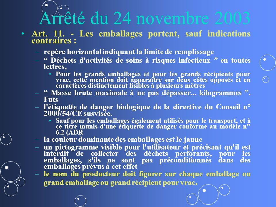 Arrêté du 24 novembre 2003 Art. 11. - Les emballages portent, sauf indications contraires : – –repère horizontal indiquant la limite de remplissage –