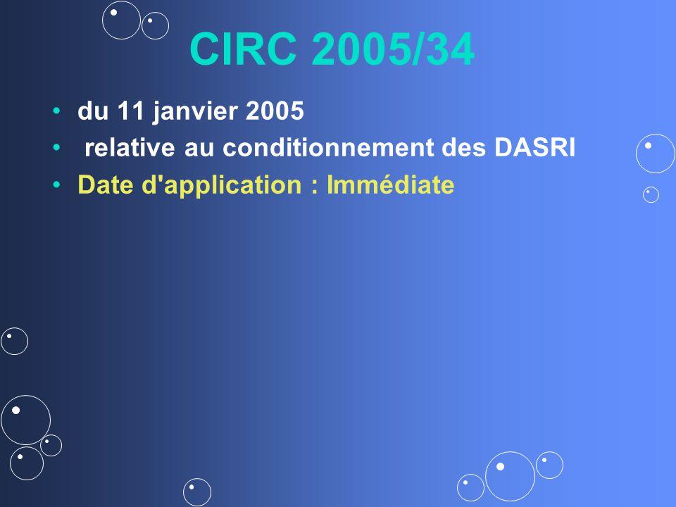 CIRC 2005/34 du 11 janvier 2005 relative au conditionnement des DASRI Date d application : Immédiate