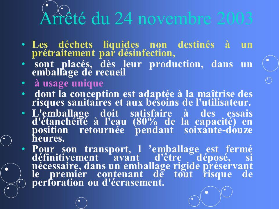 Arrêté du 24 novembre 2003 Les déchets liquides non destinés à un prétraitement par désinfection, sont placés, dès leur production, dans un emballage de recueil à usage unique dont la conception est adaptée à la maîtrise des risques sanitaires et aux besoins de l utilisateur.