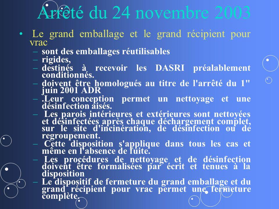 Arrêté du 24 novembre 2003 Le grand emballage et le grand récipient pour vrac – –sont des emballages réutilisables – –rigides, – –destinés à recevoir les DASRI préalablement conditionnés.