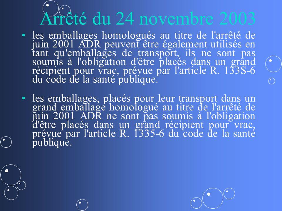 Arrêté du 24 novembre 2003 les emballages homologués au titre de l arrêté de juin 2001 ADR peuvent être également utilisés en tant qu emballages de transport, ils ne sont pas soumis à l obligation d être placés dans un grand récipient pour vrac, prévue par l article R.