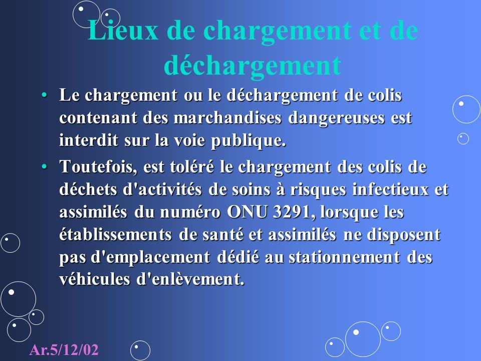 Lieux de chargement et de déchargement Le chargement ou le déchargement de colis contenant des marchandises dangereuses est interdit sur la voie publi