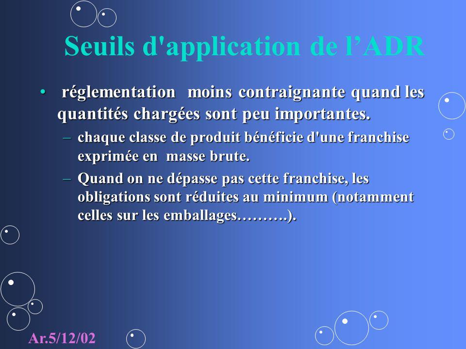 Seuils d application de lADR réglementation moins contraignante quand les quantités chargées sont peu importantes.