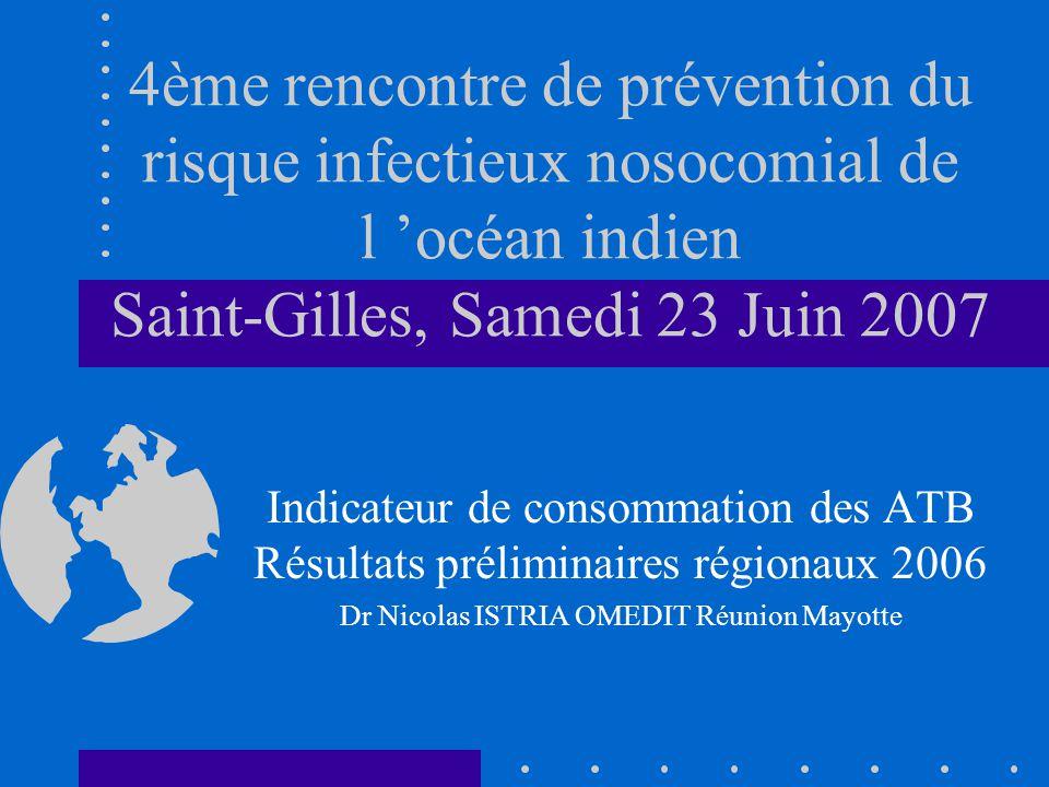 4ème rencontre de prévention du risque infectieux nosocomial de l océan indien Saint-Gilles, Samedi 23 Juin 2007 Indicateur de consommation des ATB Résultats préliminaires régionaux 2006 Dr Nicolas ISTRIA OMEDIT Réunion Mayotte