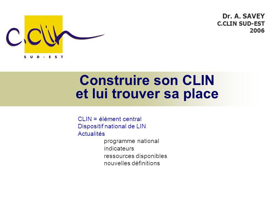 Construire son CLIN et lui trouver sa place CLIN = élément central Dispositif national de LIN Actualités programme national indicateurs ressources disponibles nouvelles définitions Dr.