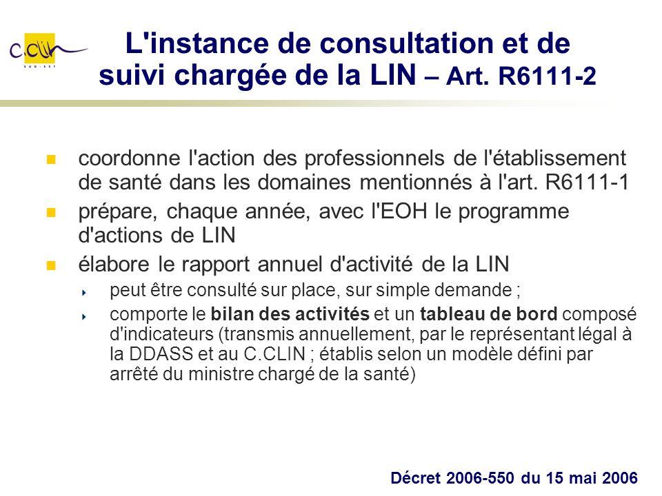 L'instance de consultation et de suivi chargée de la LIN – Art. R6111-2 coordonne l'action des professionnels de l'établissement de santé dans les dom