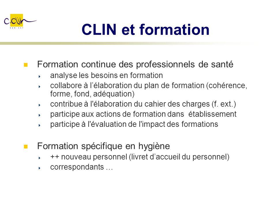 CLIN et formation Formation continue des professionnels de santé analyse les besoins en formation collabore à lélaboration du plan de formation (cohér