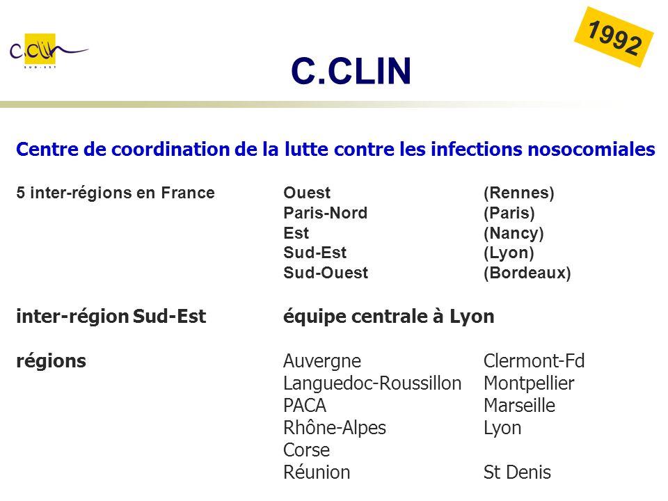 Centre de coordination de la lutte contre les infections nosocomiales 5 inter-régions en FranceOuest(Rennes) Paris-Nord (Paris) Est (Nancy) Sud-Est (L