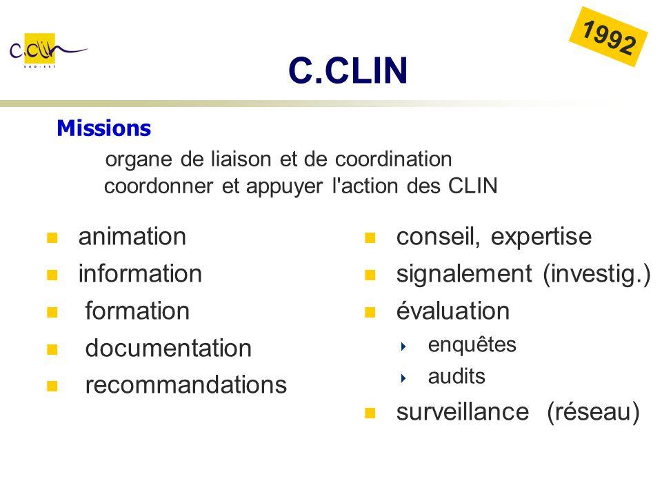 Missions organe de liaison et de coordination coordonner et appuyer l'action des CLIN 1992 C.CLIN animation information formation documentation recomm