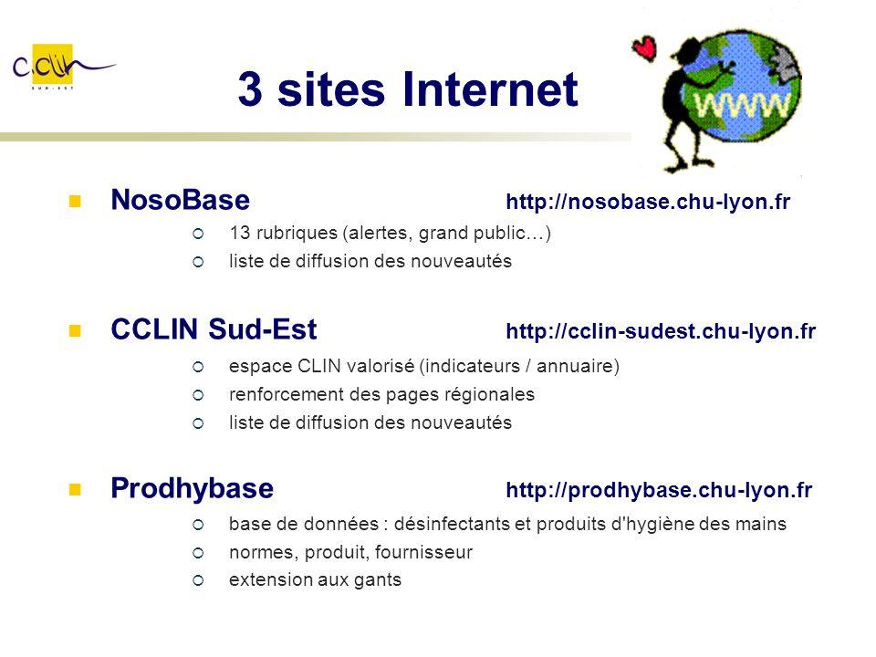 3 sites Internet NosoBase http://nosobase.chu-lyon.fr 13 rubriques (alertes, grand public…) liste de diffusion des nouveautés CCLIN Sud-Est http://ccl