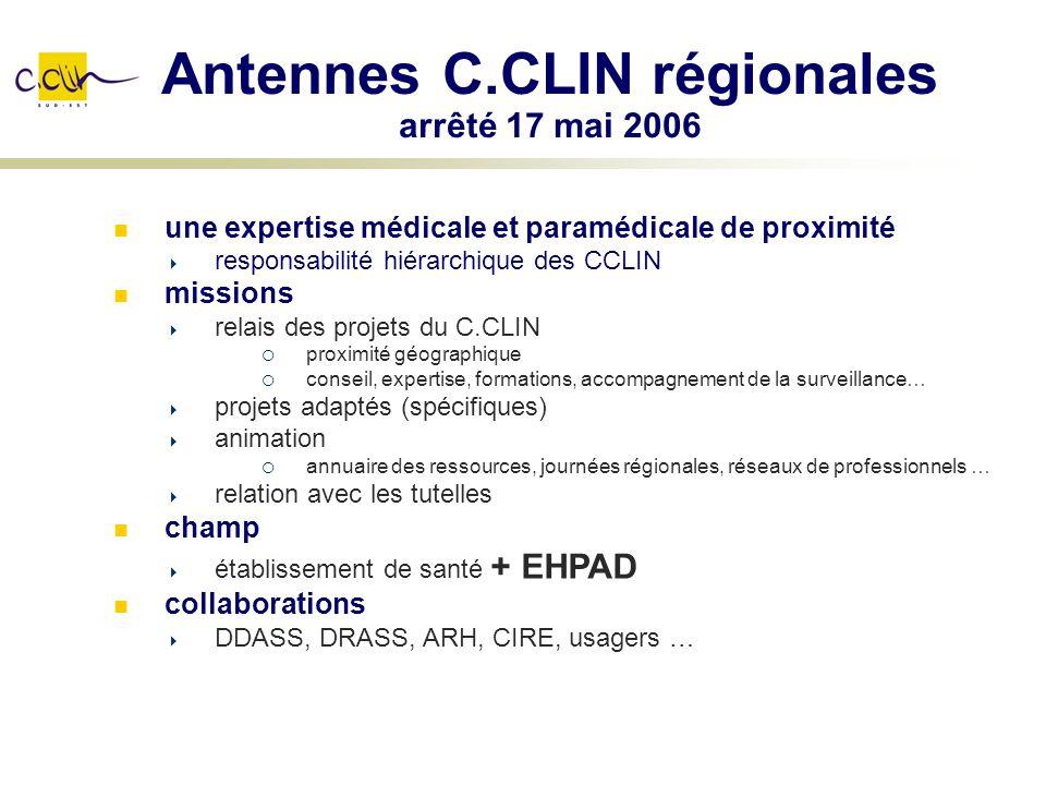 Antennes C.CLIN régionales arrêté 17 mai 2006 une expertise médicale et paramédicale de proximité responsabilité hiérarchique des CCLIN missions relai
