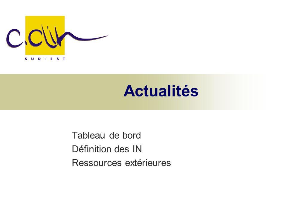 Actualités Tableau de bord Définition des IN Ressources extérieures