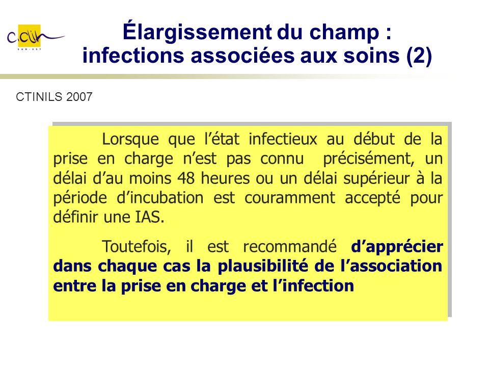 Élargissement du champ : infections associées aux soins (2) Lorsque que létat infectieux au début de la prise en charge nest pas connu précisément, un