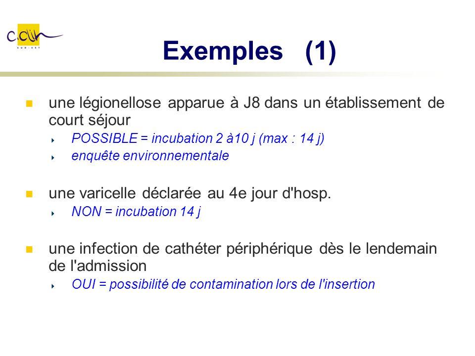 Exemples (1) une légionellose apparue à J8 dans un établissement de court séjour POSSIBLE = incubation 2 à10 j (max : 14 j) enquête environnementale u