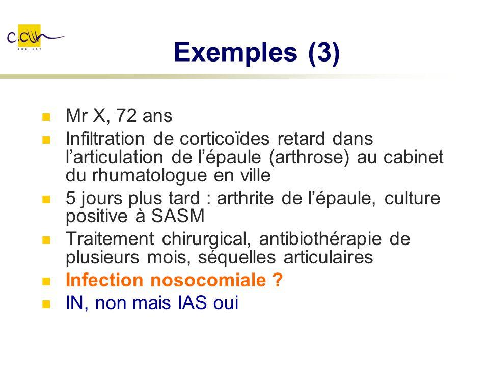 Exemples (3) Mr X, 72 ans Infiltration de corticoïdes retard dans larticulation de lépaule (arthrose) au cabinet du rhumatologue en ville 5 jours plus
