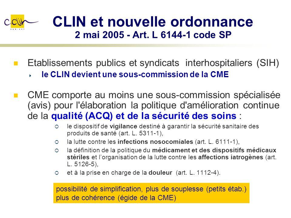 CLIN et nouvelle ordonnance 2 mai 2005 - Art. L 6144-1 code SP Etablissements publics et syndicats interhospitaliers (SIH) le CLIN devient une sous-co