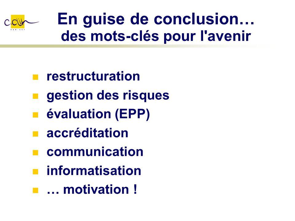 En guise de conclusion… des mots-clés pour l'avenir restructuration gestion des risques évaluation (EPP) accréditation communication informatisation …