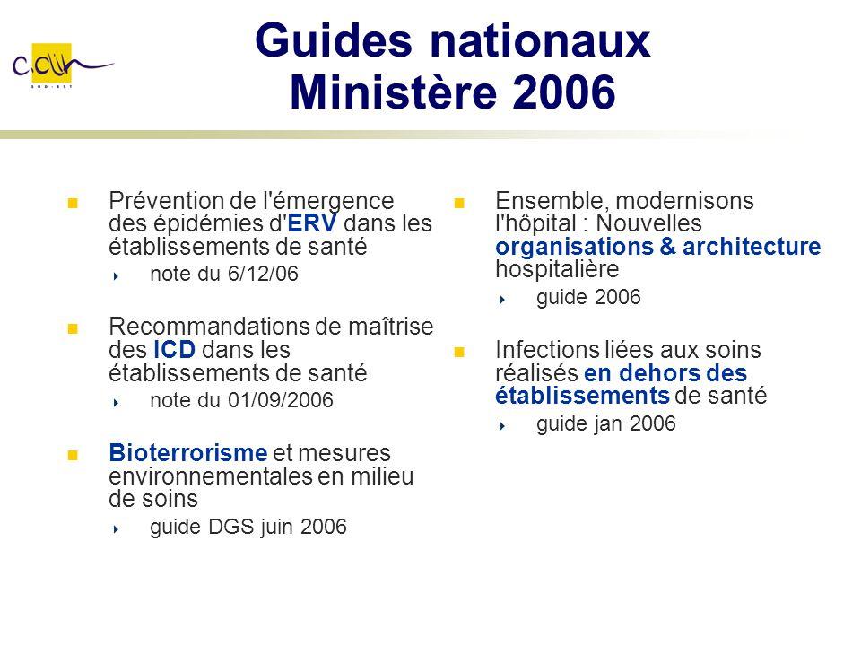 Guides nationaux Ministère 2006 Prévention de l'émergence des épidémies d'ERV dans les établissements de santé note du 6/12/06 Recommandations de maît