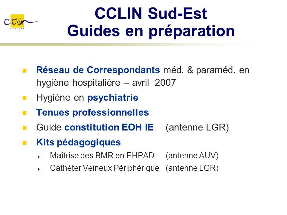 CCLIN Sud-Est Guides en préparation Réseau de Correspondants méd. & paraméd. en hygiène hospitalière – avril 2007 Hygiène en psychiatrie Tenues profes