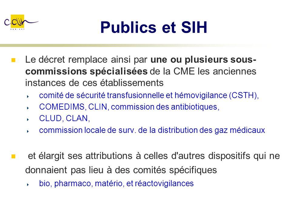 Publics et SIH Le décret remplace ainsi par une ou plusieurs sous- commissions spécialisées de la CME les anciennes instances de ces établissements co
