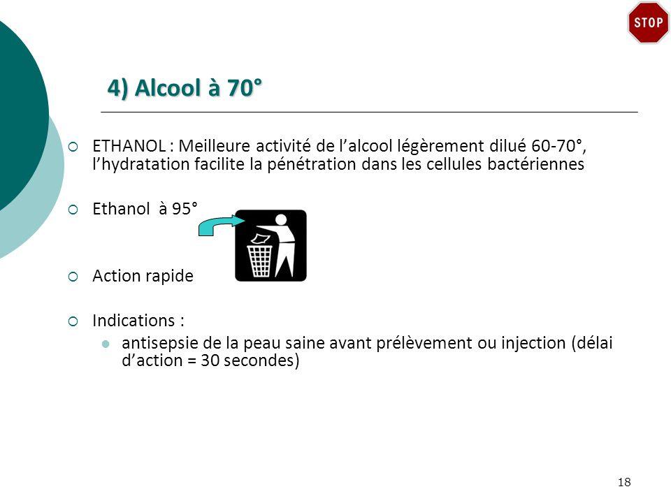 4) Alcool à 70° ETHANOL : Meilleure activité de lalcool légèrement dilué 60-70°, lhydratation facilite la pénétration dans les cellules bactériennes Ethanol à 95° Action rapide Indications : antisepsie de la peau saine avant prélèvement ou injection (délai daction = 30 secondes) 18