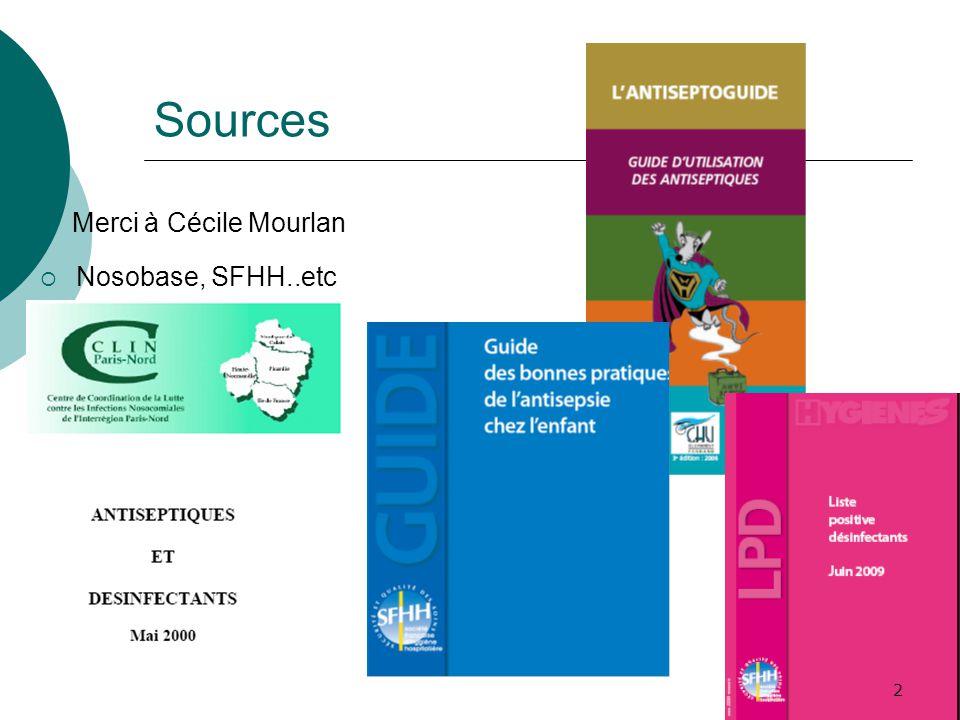 Sources Merci à Cécile Mourlan Nosobase, SFHH..etc 2