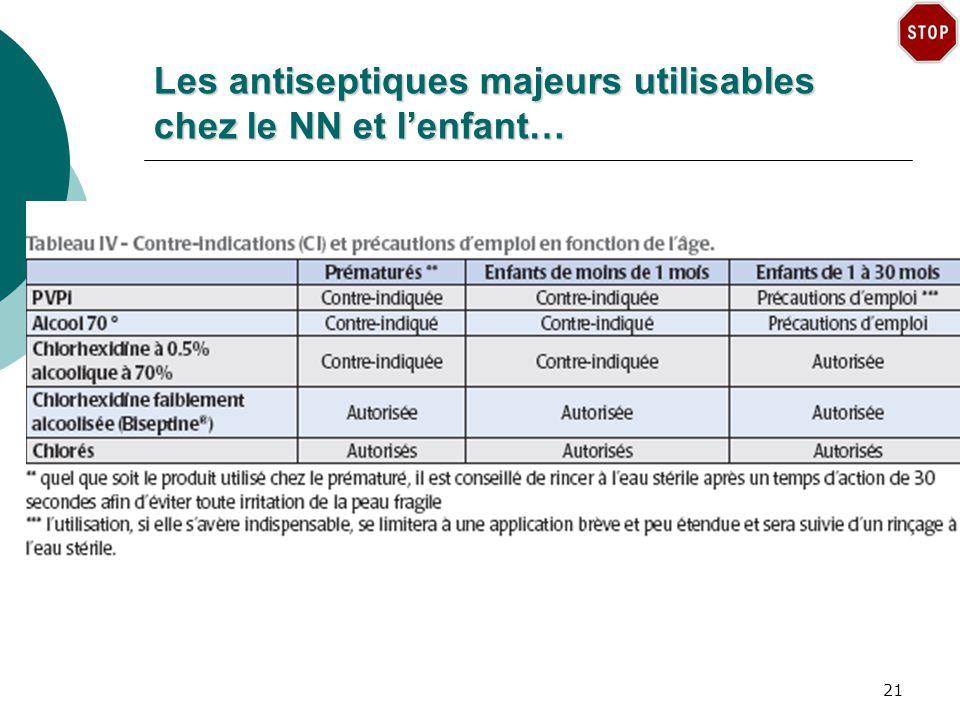 Les antiseptiques majeurs utilisables chez le NN et lenfant… 21