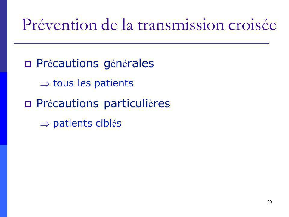 29 Prévention de la transmission croisée Pr é cautions g é n é rales tous les patients Pr é cautions particuli è res patients cibl é s