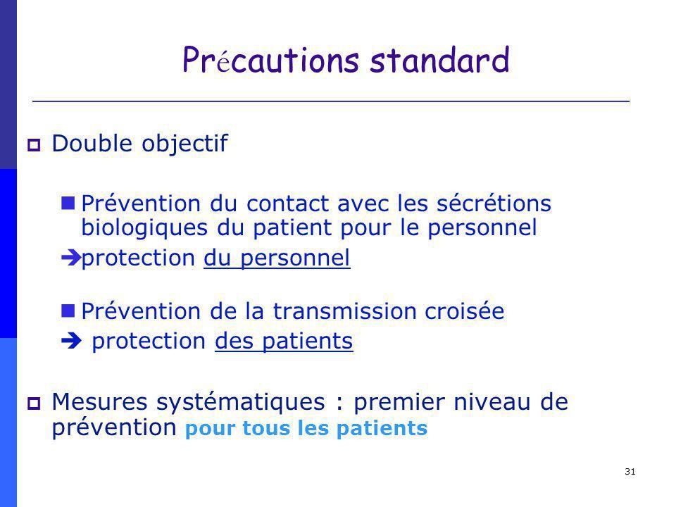 31 Pr é cautions standard Double objectif Prévention du contact avec les sécrétions biologiques du patient pour le personnel èprotection du personnel