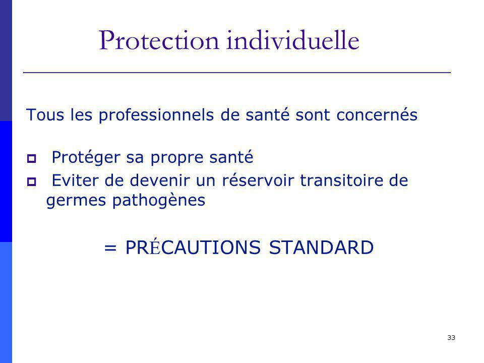 33 Protection individuelle Tous les professionnels de santé sont concernés Protéger sa propre santé Eviter de devenir un réservoir transitoire de germes pathogènes = PR É CAUTIONS STANDARD