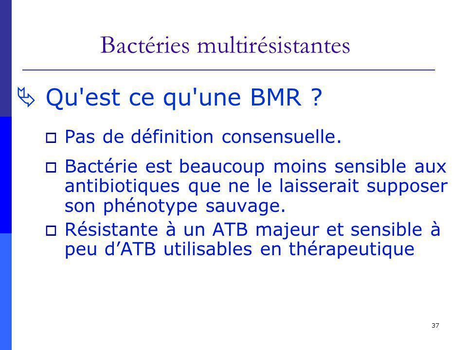 37 Bactéries multirésistantes Qu'est ce qu'une BMR ? Pas de définition consensuelle. Bactérie est beaucoup moins sensible aux antibiotiques que ne le
