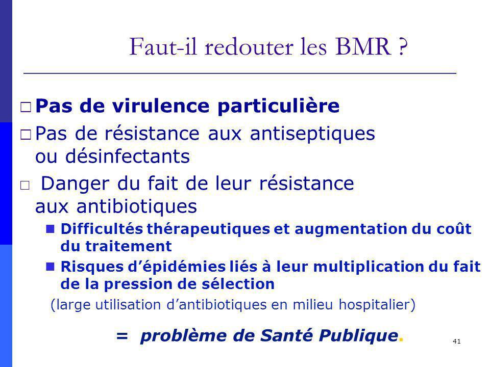 41 Faut-il redouter les BMR ? Pas de virulence particulière Pas de résistance aux antiseptiques ou désinfectants Danger du fait de leur résistance aux