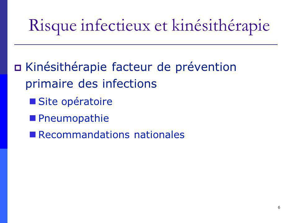 6 Risque infectieux et kinésithérapie Kinésithérapie facteur de prévention primaire des infections Site opératoire Pneumopathie Recommandations nation