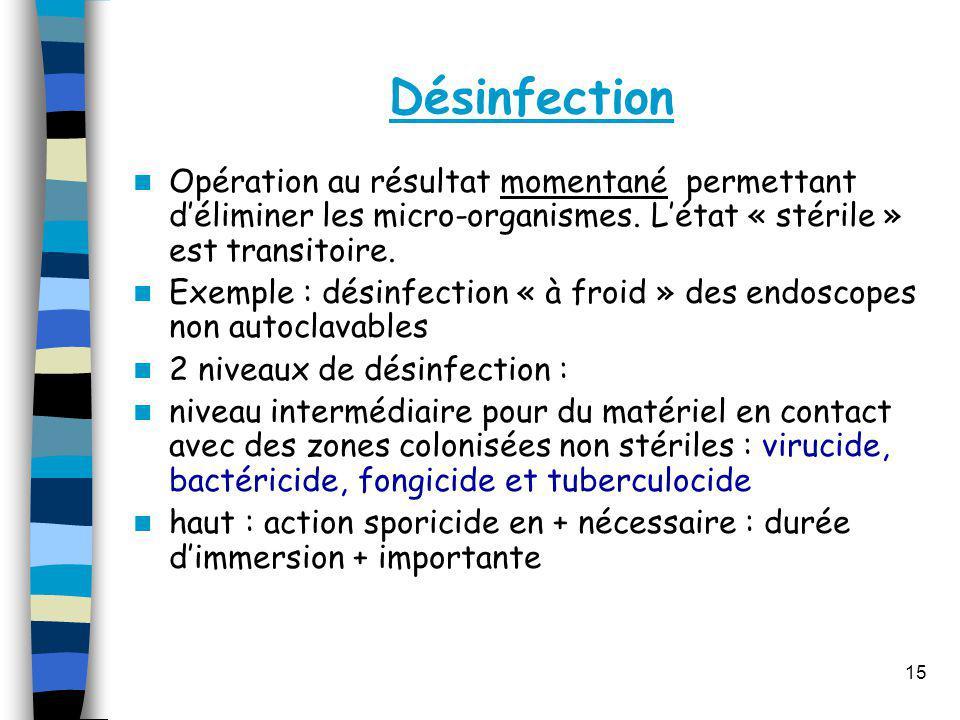 Désinfection Opération au résultat momentané permettant déliminer les micro-organismes. Létat « stérile » est transitoire. Exemple : désinfection « à