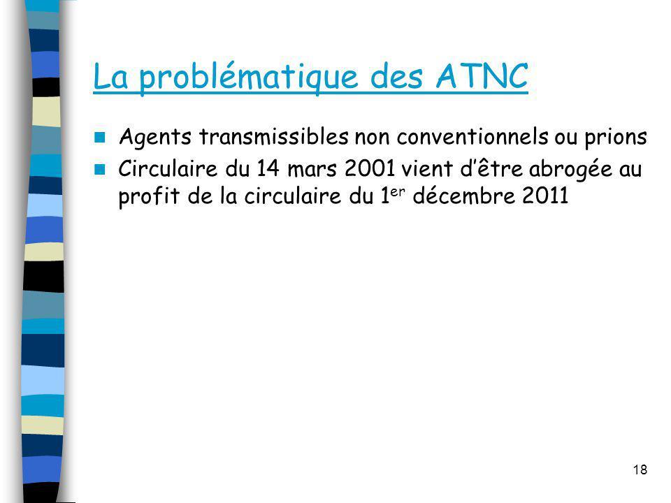La problématique des ATNC Agents transmissibles non conventionnels ou prions Circulaire du 14 mars 2001 vient dêtre abrogée au profit de la circulaire