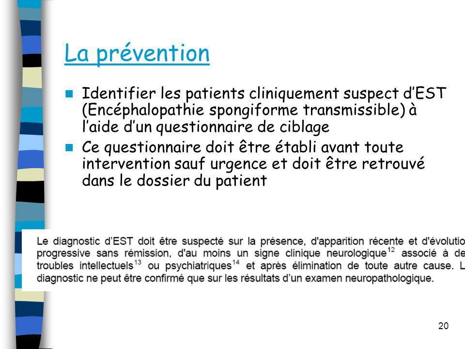 La prévention Identifier les patients cliniquement suspect dEST (Encéphalopathie spongiforme transmissible) à laide dun questionnaire de ciblage Ce qu