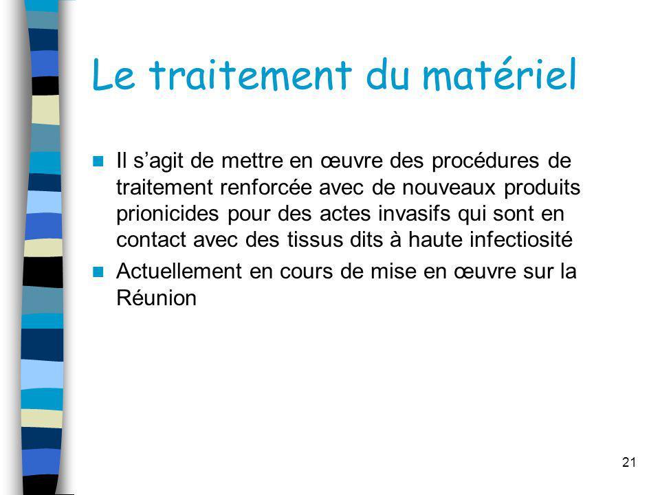 Le traitement du matériel Il sagit de mettre en œuvre des procédures de traitement renforcée avec de nouveaux produits prionicides pour des actes inva
