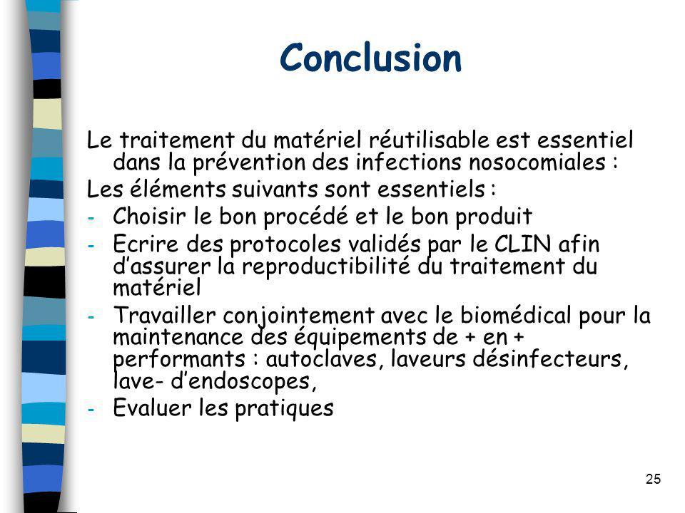 Conclusion Le traitement du matériel réutilisable est essentiel dans la prévention des infections nosocomiales : Les éléments suivants sont essentiels