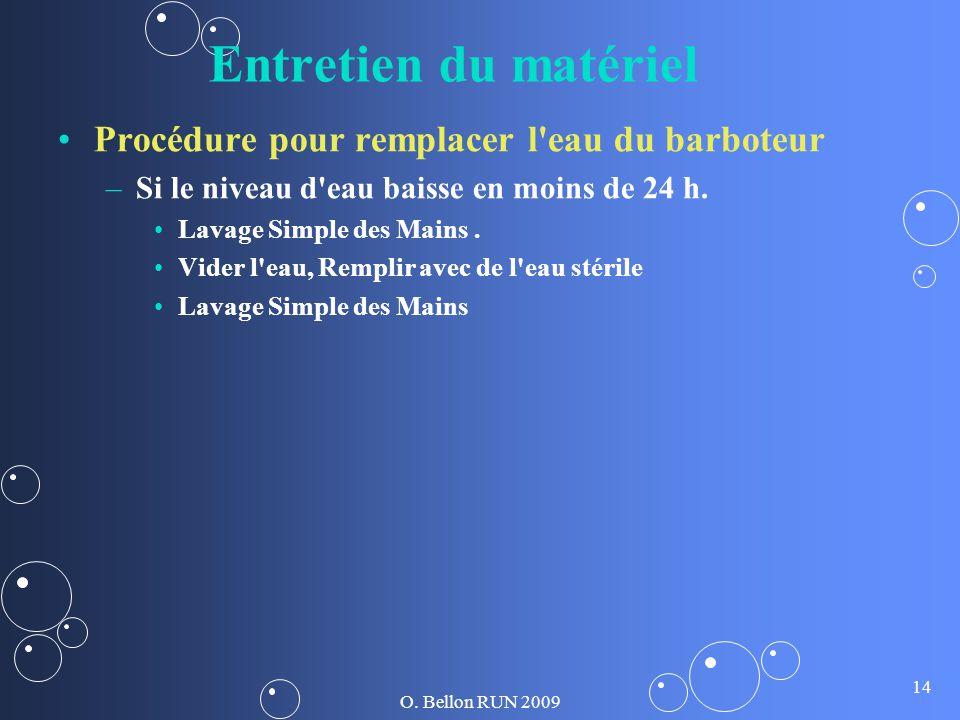 O. Bellon RUN 2009 14 Entretien du matériel Procédure pour remplacer l'eau du barboteur – –Si le niveau d'eau baisse en moins de 24 h. Lavage Simple d