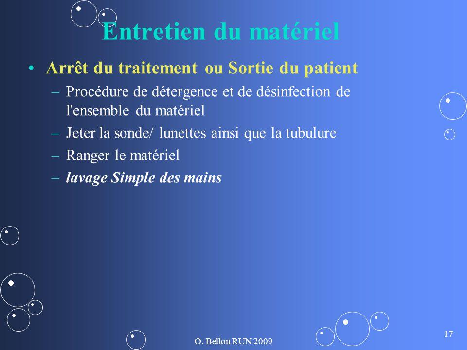 O. Bellon RUN 2009 17 Entretien du matériel Arrêt du traitement ou Sortie du patient – –Procédure de détergence et de désinfection de l'ensemble du ma