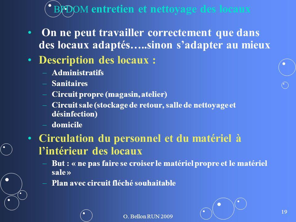 O. Bellon RUN 2009 19 BPDOM entretien et nettoyage des locaux On ne peut travailler correctement que dans des locaux adaptés…..sinon sadapter au mieux