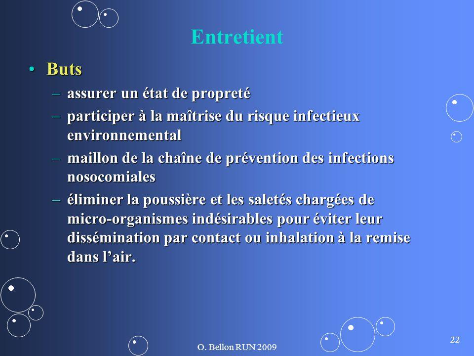 O. Bellon RUN 2009 22 Entretient ButsButs –assurer un état de propreté –participer à la maîtrise du risque infectieux environnemental –maillon de la c